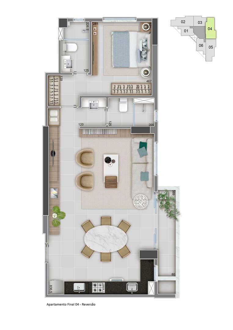 Apartamento Final 04 - 65m² - Variação sala ampliada