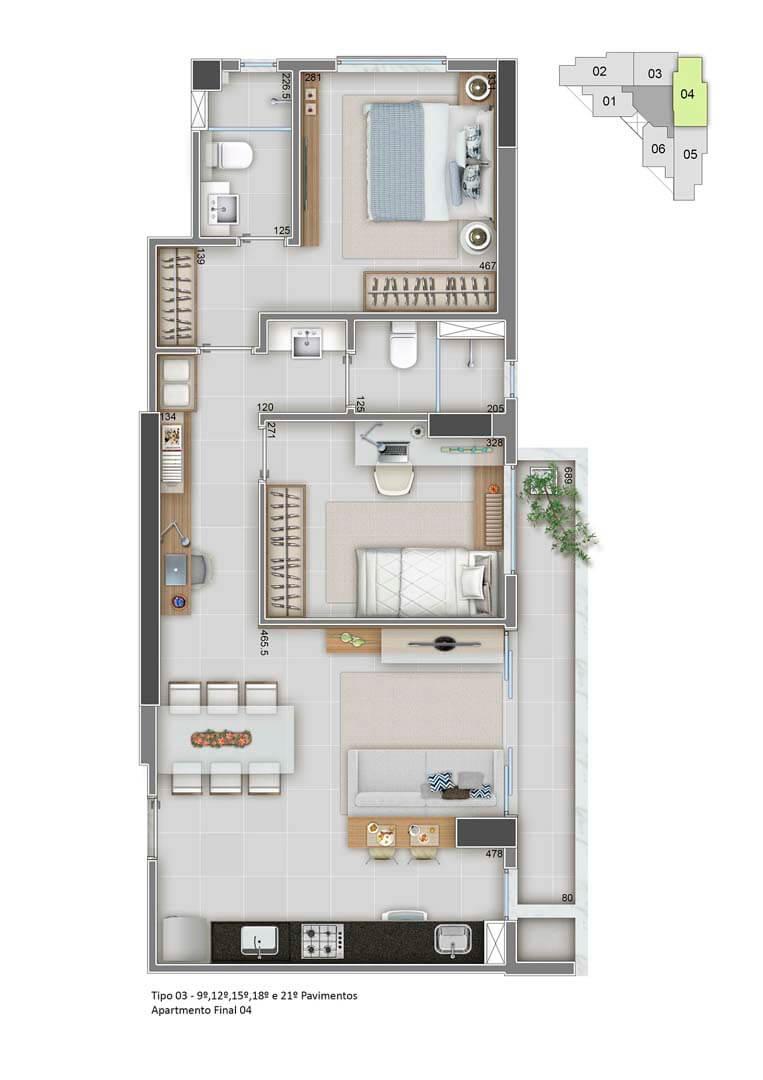 Apartamento Final 04 - 68m²