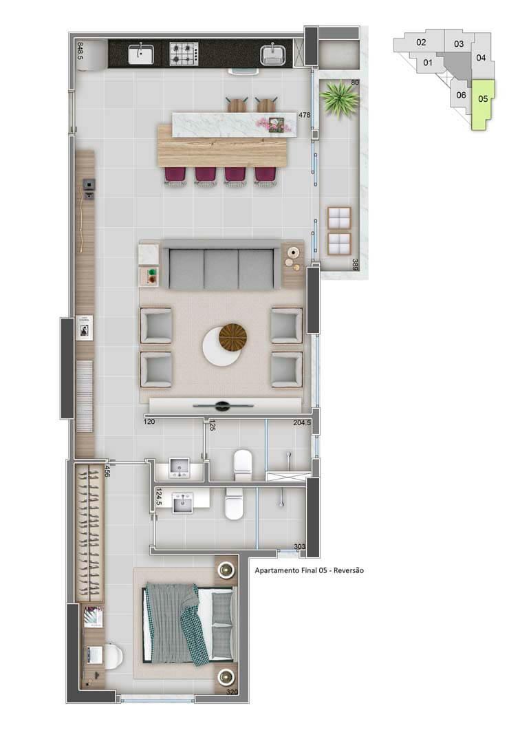 Apartamento Final 05 - 68m² - Variação sala ampliada
