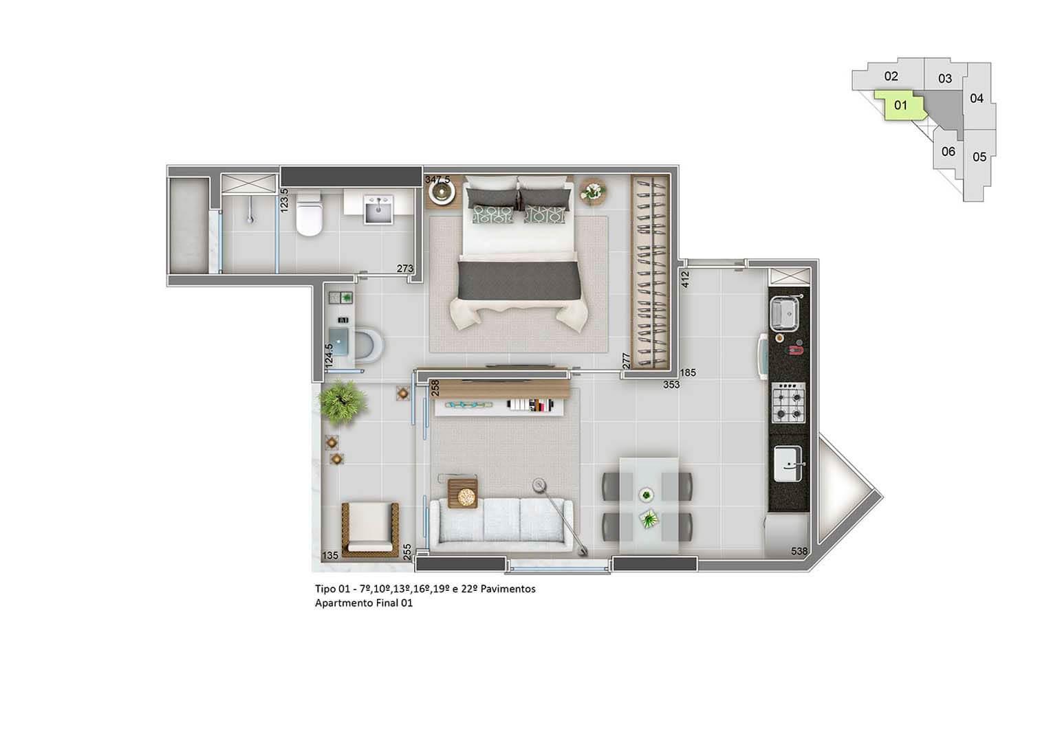 Apartamento Final 01 – 40m²