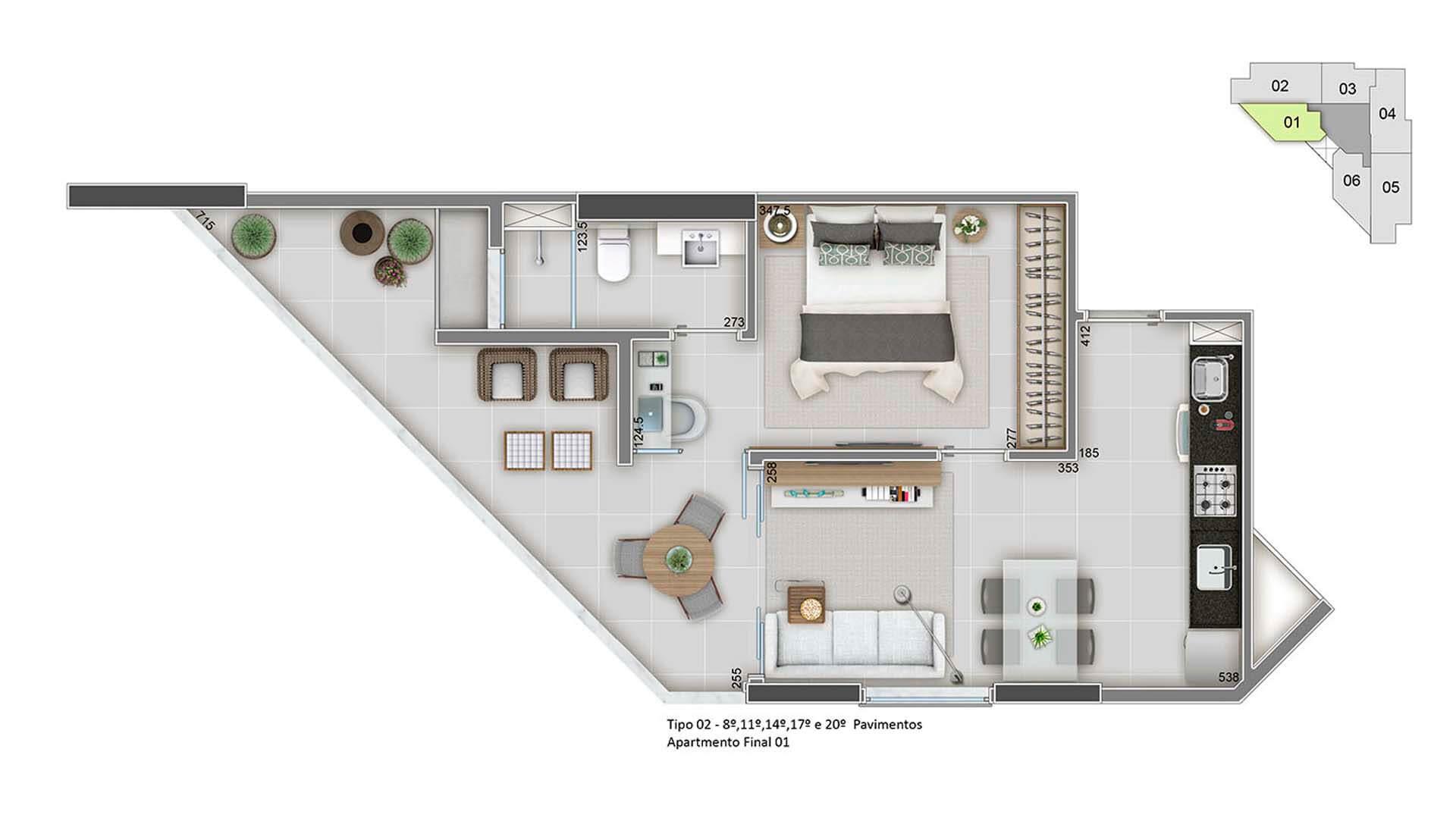 Apartamento Final 01 – 50m²