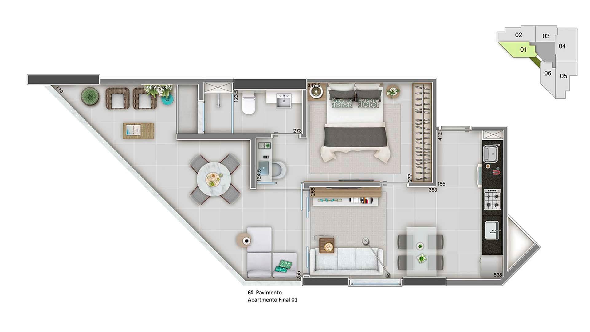 Apartamento Final 01 - 55m²