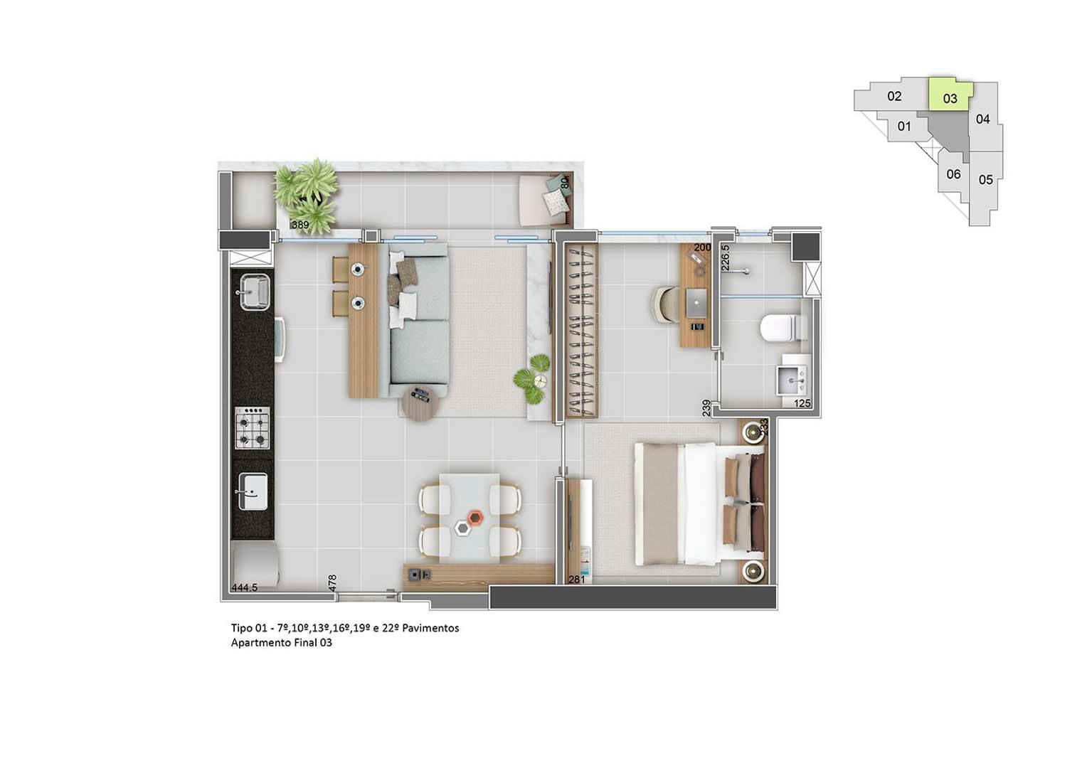 Apartamento Final 03 - 43m²