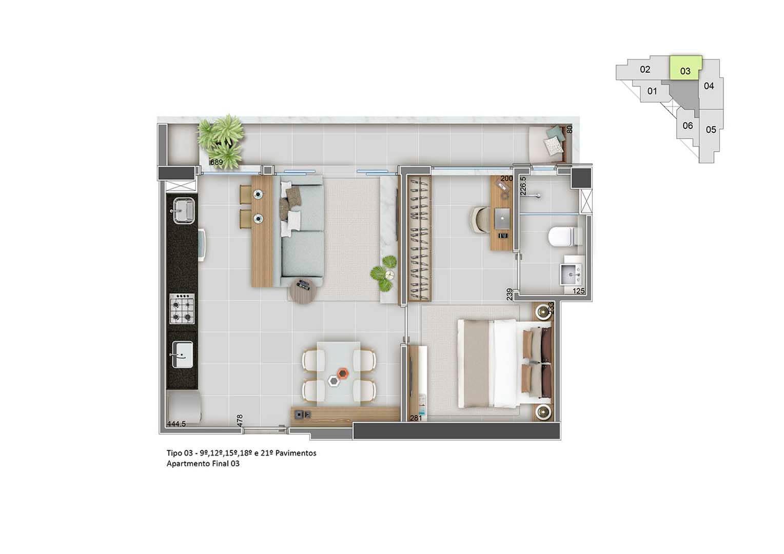 Apartamento Final 03- 46m²