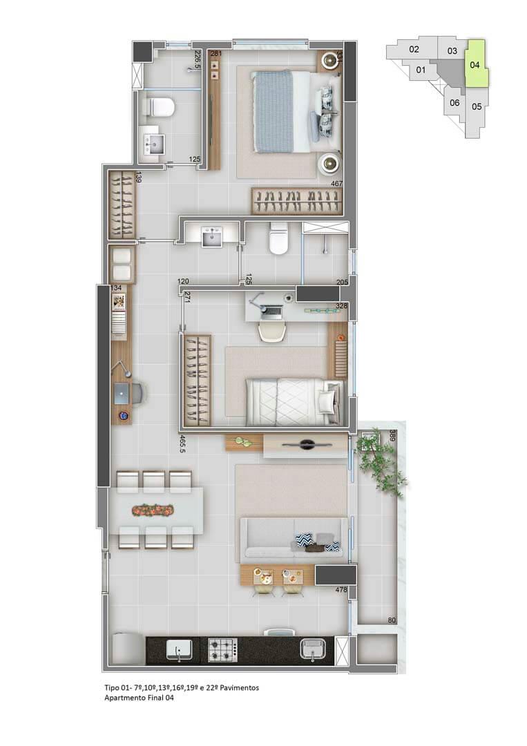 Apartamento Final 04 - 65m²