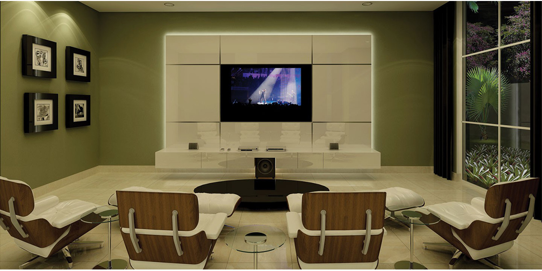 Salao com home cinema