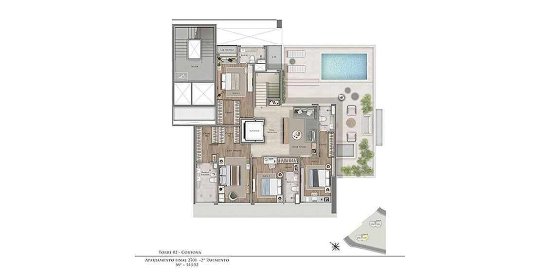 Cortona (Torre 2): Duplex Top House 2º pav. - Final 01
