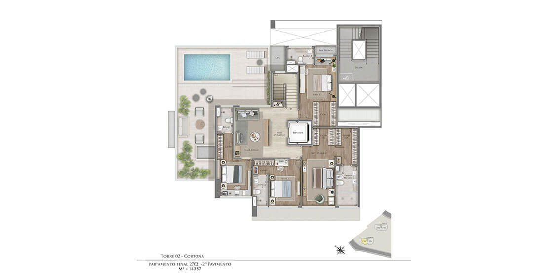 Cortona (Torre 2): Duplex Top House 2º pav. - Final 02