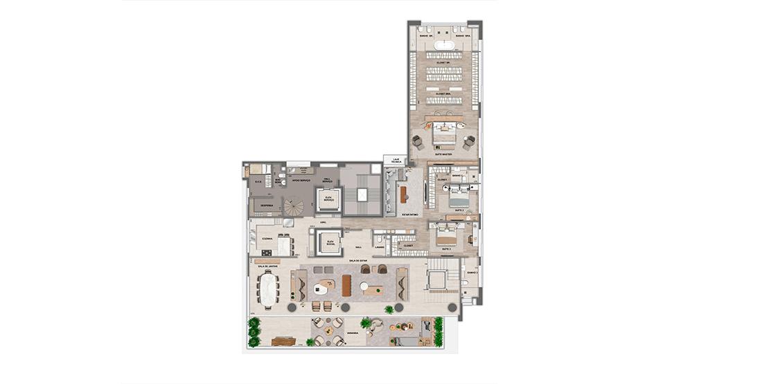 Cobertura: 19º pavimento - área inferior