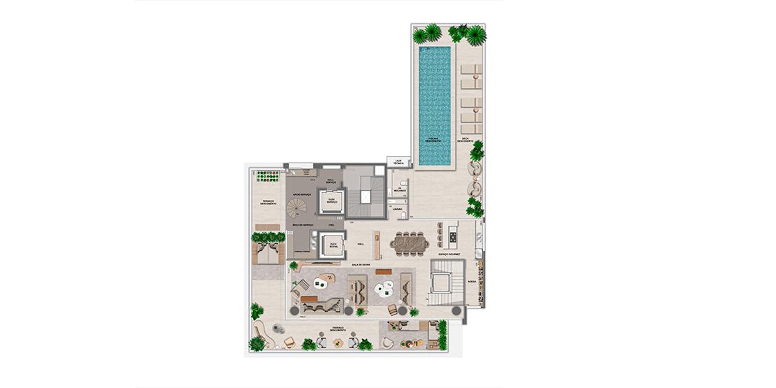 Cobertura: 20º pavimento - área superior
