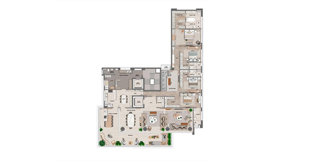 Apartamento tipo: 5º ao 18º pavimento (Unid. 1800 possui terraço descoberto)